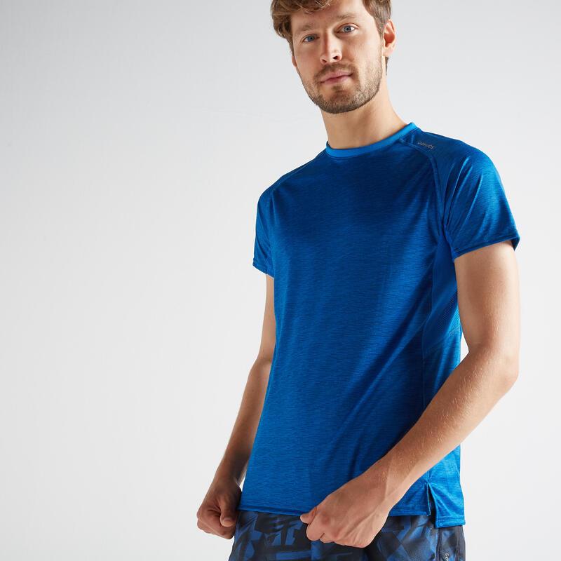 T-shirt voor cardiofitness heren 120 gemêleerd blauw
