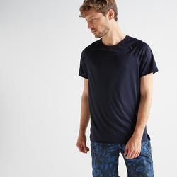T-shirt voor cardiofitness heren FTS 100 marineblauw
