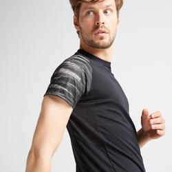 Cardiofitness T-shirt heren FTS 120 zwart met opdruk op mouwen