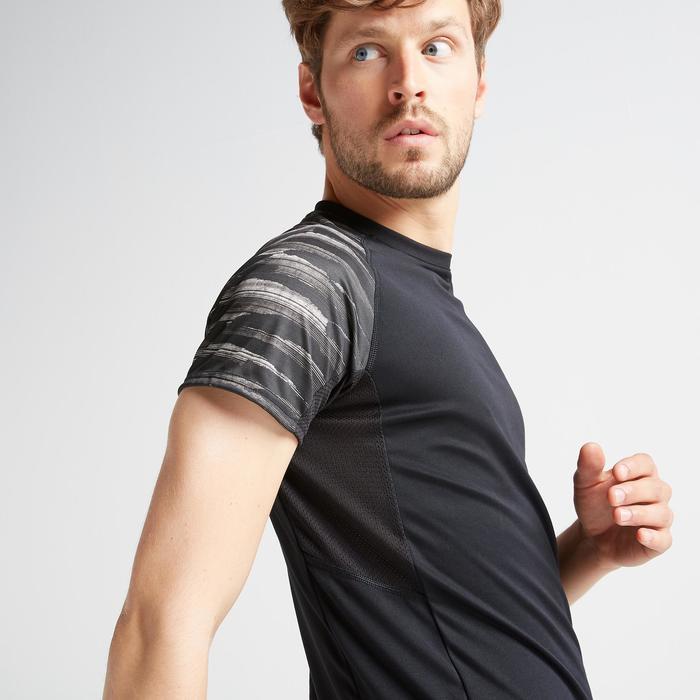 T-shirt voor cardiofitness heren FTS 120 zwart met print op mouwen