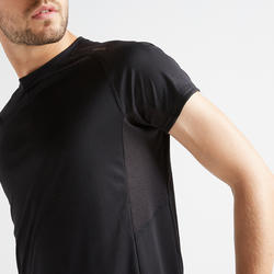 T-shirt entraînement cardio homme FTS 120 noir uni