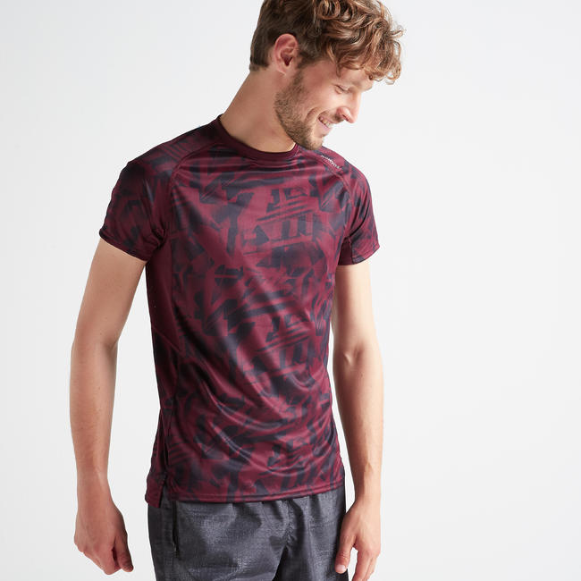 FTS 120 Fitness Cardio Training T-Shirt - Mottled Burgundy