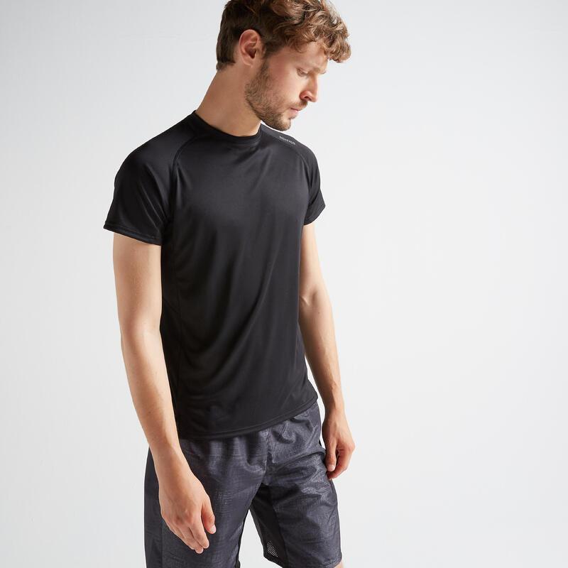 T-shirt voor cardiofitness heren FTS 120 zwart effen