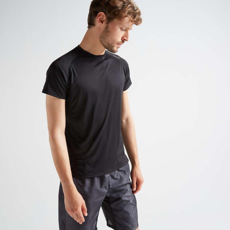 MAN FITNESS APPAREL Clothing - FTS 120 T-Shirt - Plain Black DOMYOS - Tops