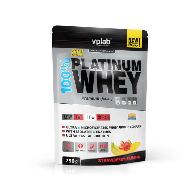 ПРОТЕИНЫ, БИОЛОГИЧ АКТИВ ДОБАВКИ Фитнес, пилатес - Протеин 750г / клубника-банан VPLAB - Спортивное питание