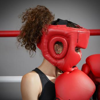casque intégral de boxe 500 enfant rouge