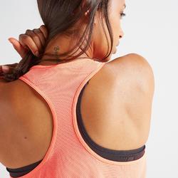 Débardeur 3 en 1 fitness cardio training femme corail et imprimé 520