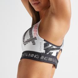 Brassière fitness cardio training femme imprimée 500