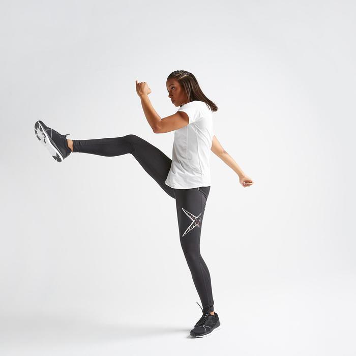 Legging voor cardiofitness dames 500 zwart met print