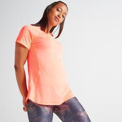 T-shirt voor cardiofitness dames 500 koraal