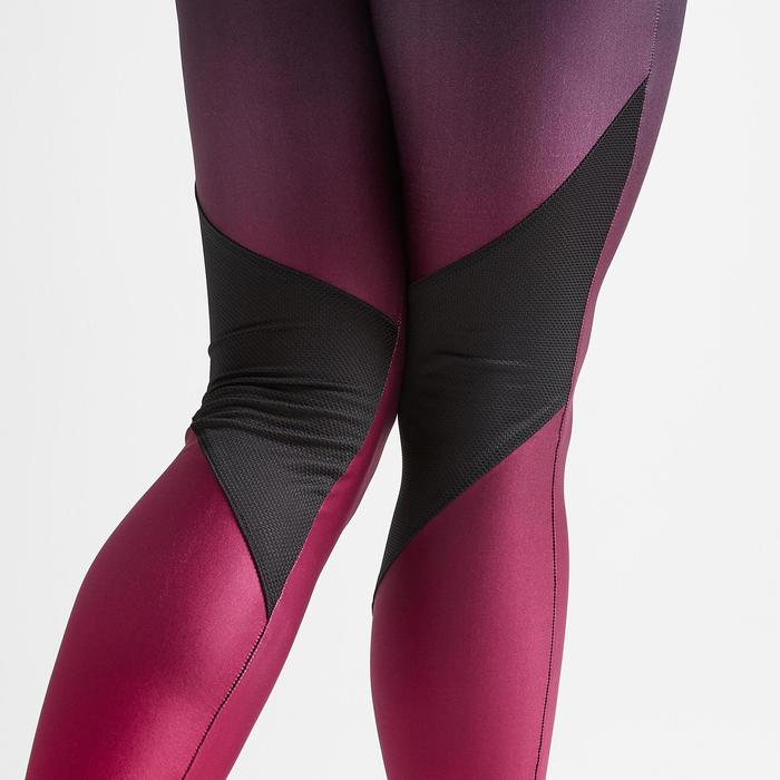 Legging voor cardiofitness dames bordeaux dégradé