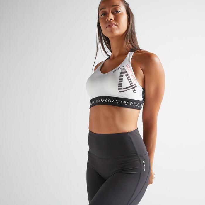Sport-BH FBRA 500 Fitness Cardio Damen mit Print