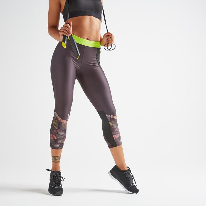 Mallas Leggings deportivos piratas Cardio Fitness Domyos 500 mujer negro lima