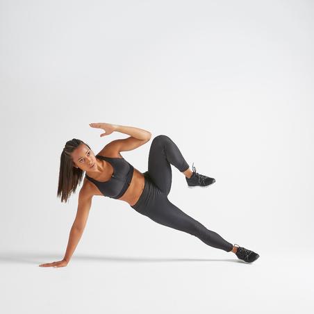900 Women's Fitness Cardio Training Zip-Up Sports Bra - Black