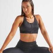 Women's High-Support Front Zip Fitness Sports Bra - Black