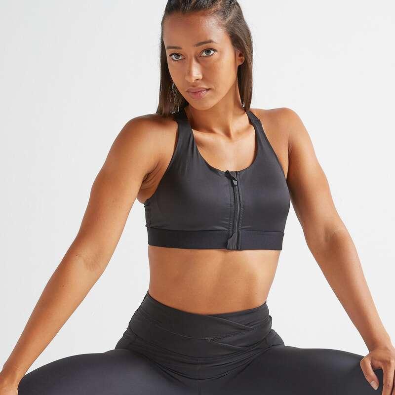 WOMAN FITNESS BRA, UNDERWEAR Fitness and Gym - FBRA 900 Zip Sports Bra Black DOMYOS - Gym Activewear