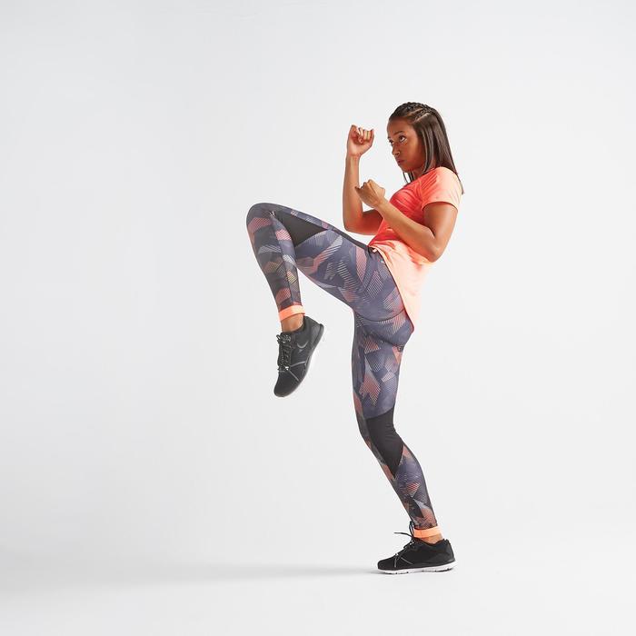 Legging fitness cardio training femme imprimé noir et corail
