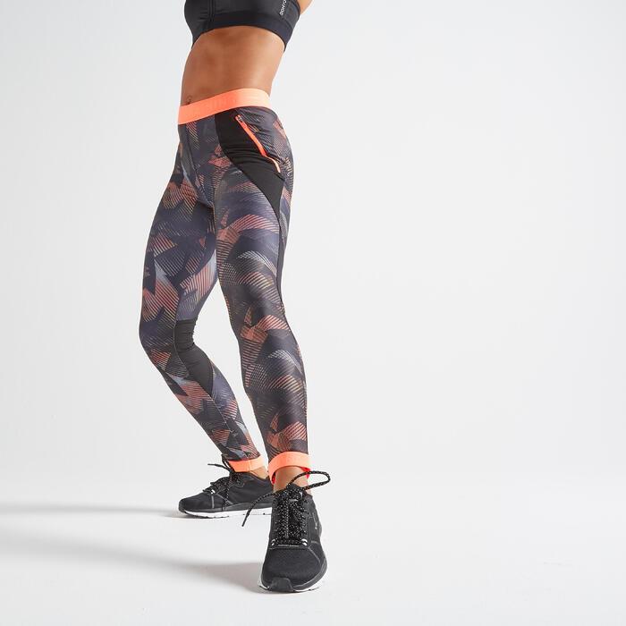 Legging voor cardiofitness dames print zwart/koraal
