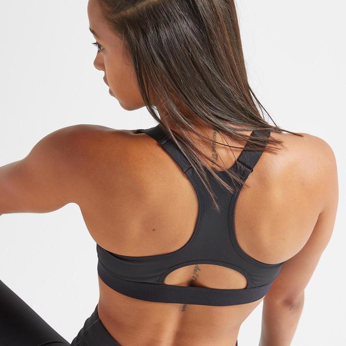 Sportbeha voor cardiofitness met rits 900 zwart