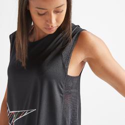 T-shirt fitness cardio training femme noir et imprimé 500