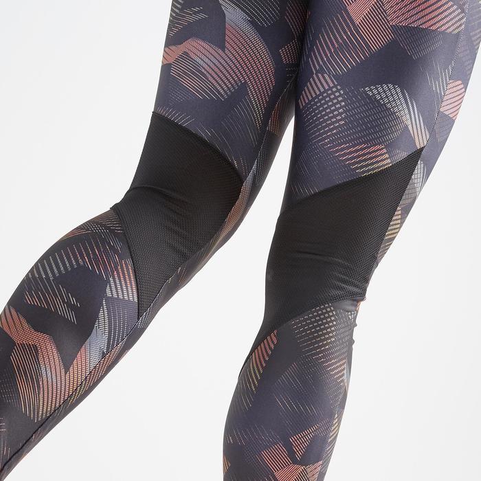Leggings FTI 500 Fitness Cardio Damen schwarz/koralle Print