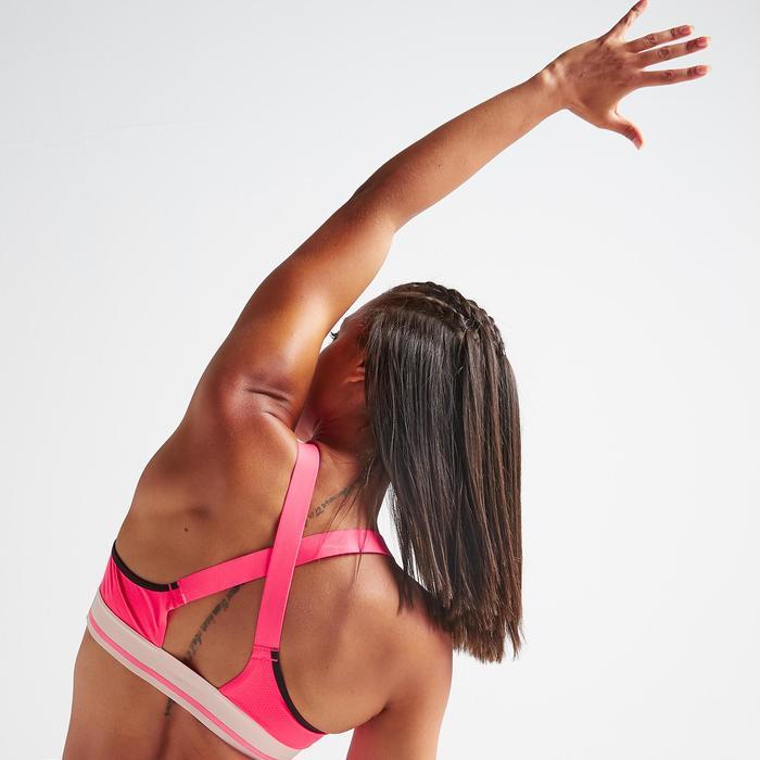 Brassière fitness cardio training femme rose 500