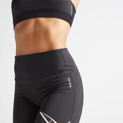 Legging fitness cardio training femme noir imprimé croix 500