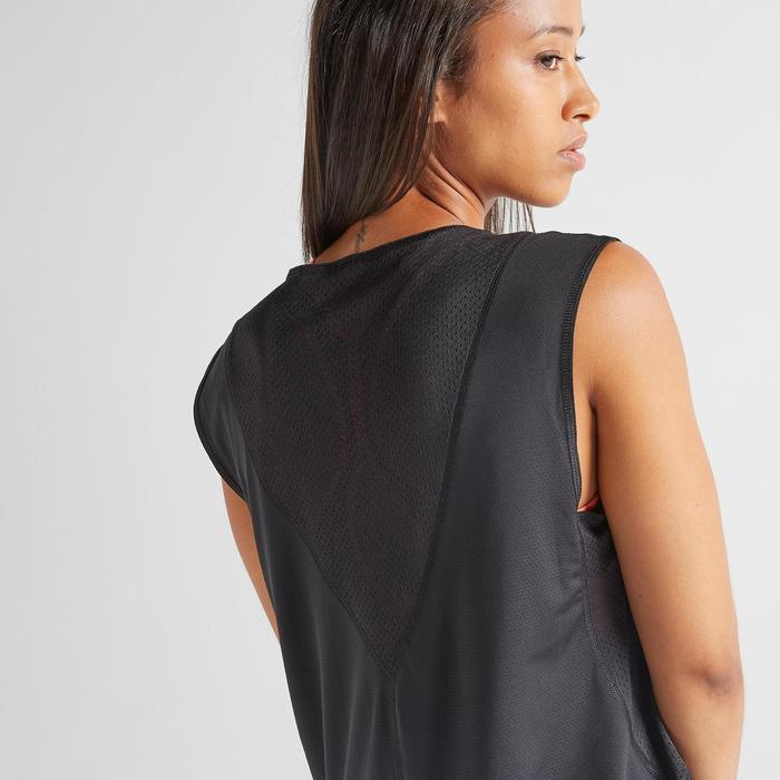 T-Shirt FTS 500 Fitness Cardio Damen schwarz mit Print