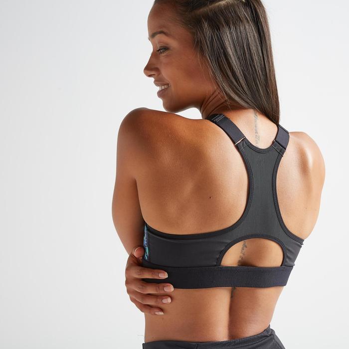 女款有氧健身拉鍊式運動內衣900-印花款