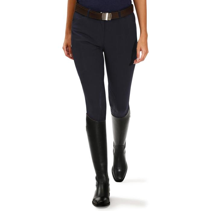 BR500 Women's Horse Riding Suede Patch Jodhpurs - Navy