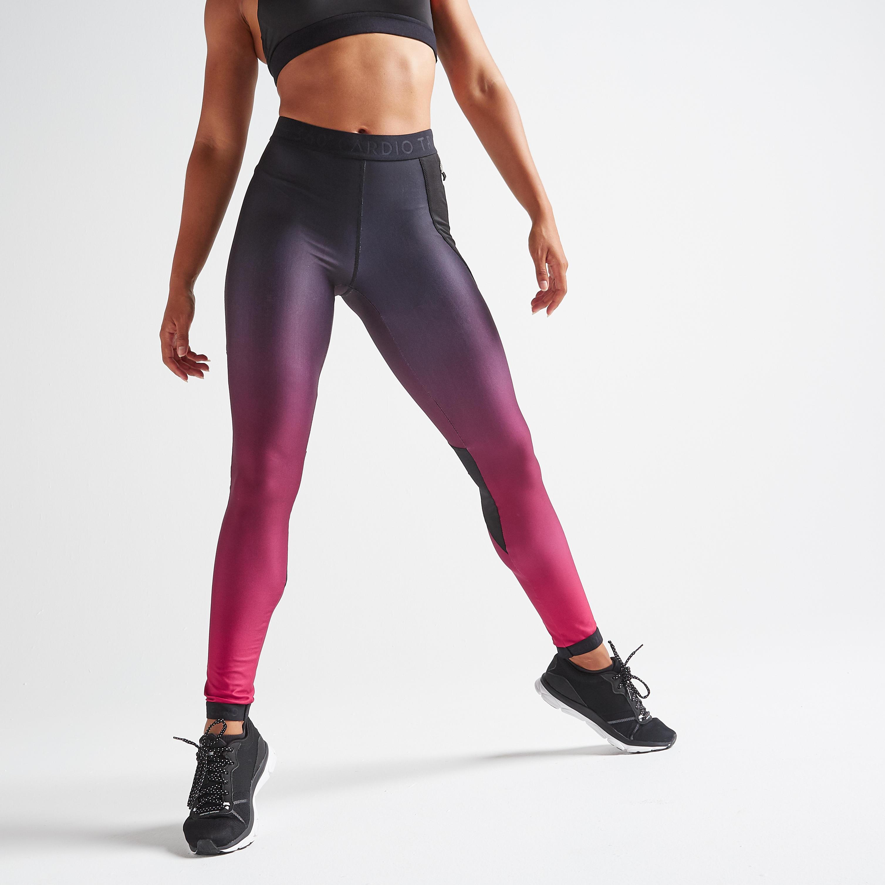 Legging fitness cardio training femme dégradé bordeaux domyos