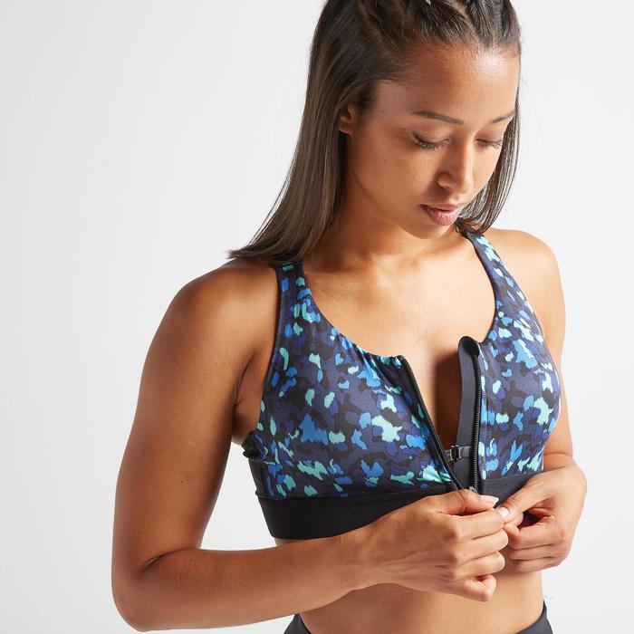 Brassière Zip fitness cardio training femme imprimée 900