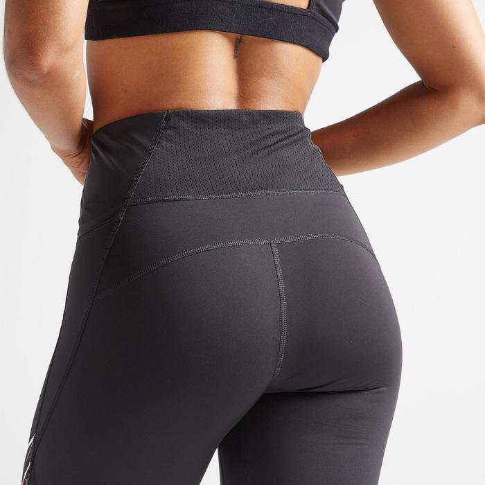Leggings FTI 500 Fitness Cardio Damen schwarz mit Print