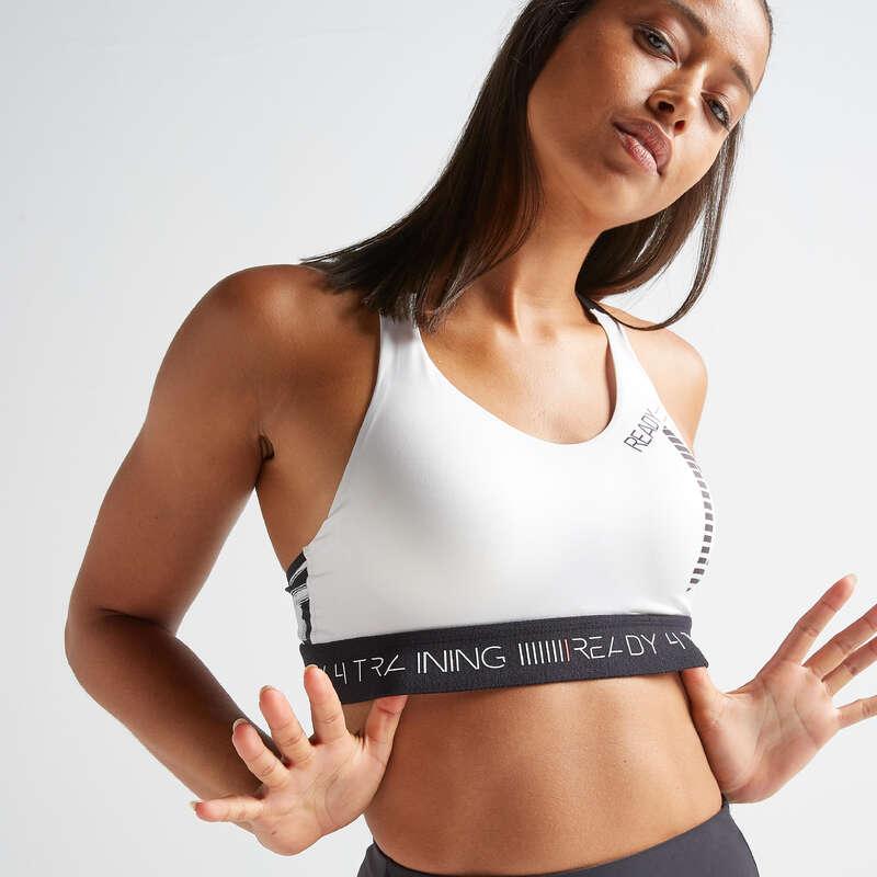 WOMAN FITNESS BRA, UNDERWEAR Fitness and Gym - Sports Bra FBRA 500 - Print DOMYOS - Gym Activewear