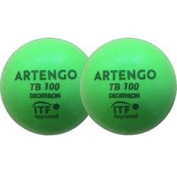 Tennisbal van schuim TB100 2 stuks groen
