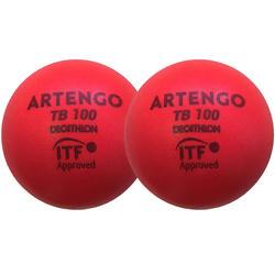 Tennisbal van schuim TB100 9 cm rood 2 stuks