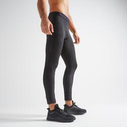 男款有氧健身訓練緊身褲500 - 黑色