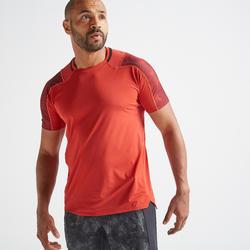 Camiseta manga corta Fitness Cardio Domyos FTS 500 hombre rojo burdeos