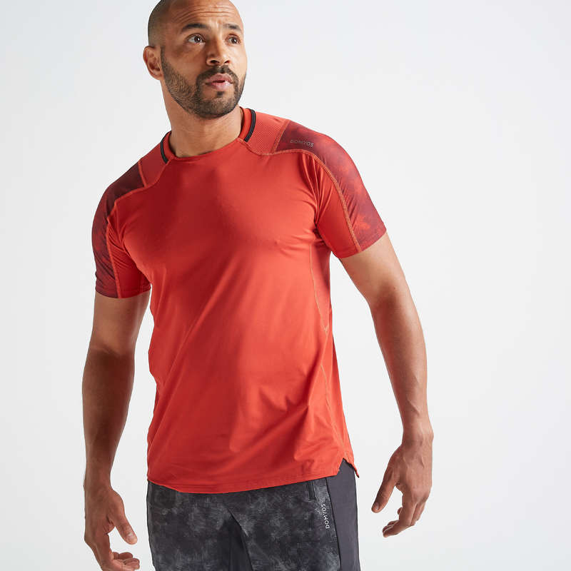 MAN FITNESS APPAREL Clothing - FTS 500 T-Shirt - Red DOMYOS - Tops