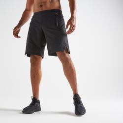 Cardiofitness trainingshort voor heren FST 500 zwart visgraatmotief