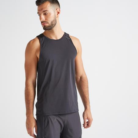 Playera sin mangas fitness cardio-training negro hombre 500