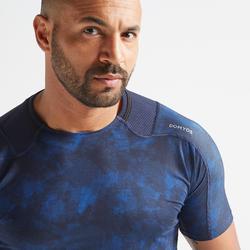 Tee shirt cardio fitness training homme FTS 500 AOP bleu