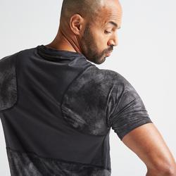 T-shirt voor cardiofitness heren FTS 500 grijs/zwart AOP