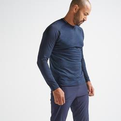 Men's Long-Sleeved Fitness T-Shirt - Mottled Blue