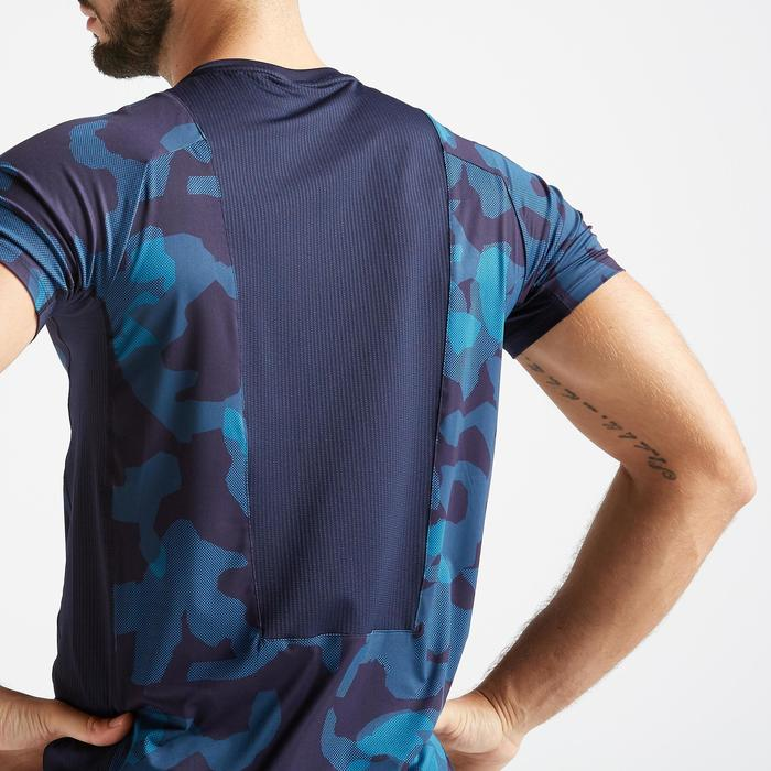 T-shirt fitness cardio training homme bleu camo 500