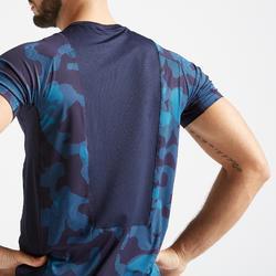 T-shirt voor cardiofitness heren FTS 500 camouflage blauw