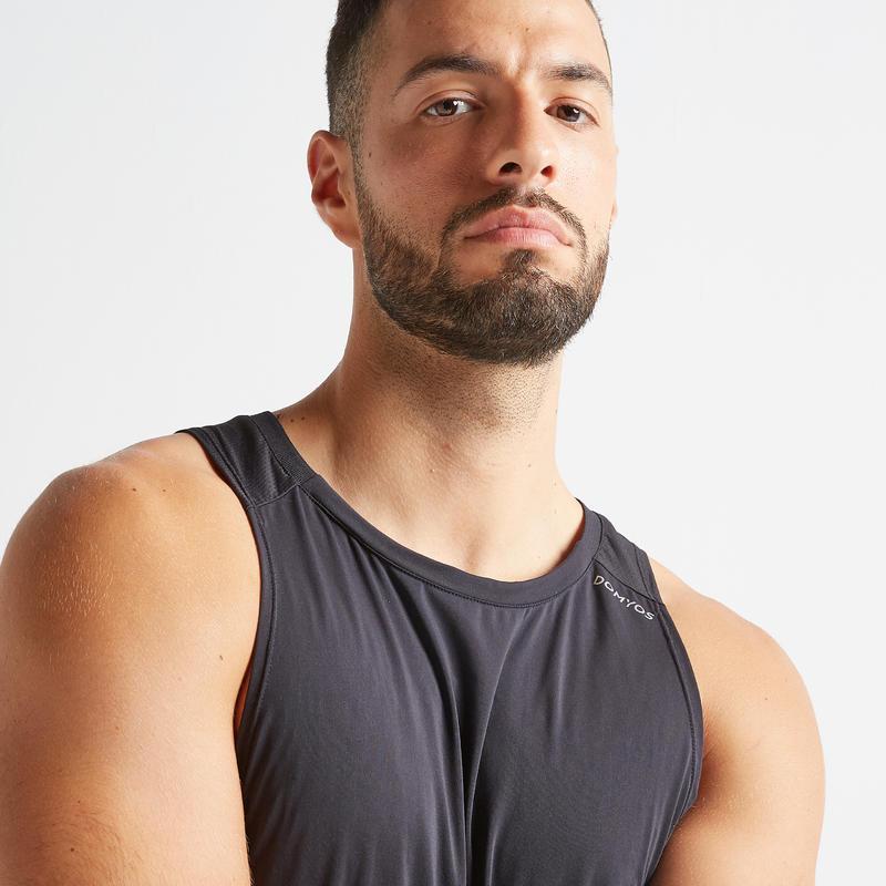 Polera sin mangas Tirantes Cardio Fitness Domyos 500 hombre negro