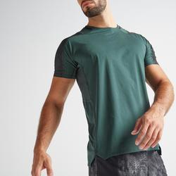 Camiseta manga corta Fitness Cardio Domyos FTS 500 hombre verde