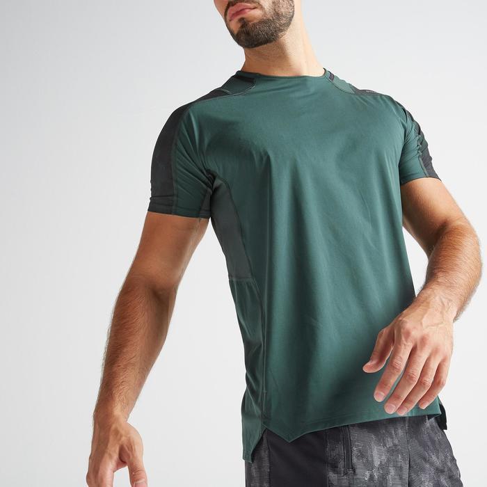 有氧健身訓練T恤FTS 500-卡其色/綠色
