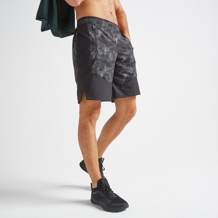 Short voor cardiofitness heren FTS 500 zwart grijs AOP